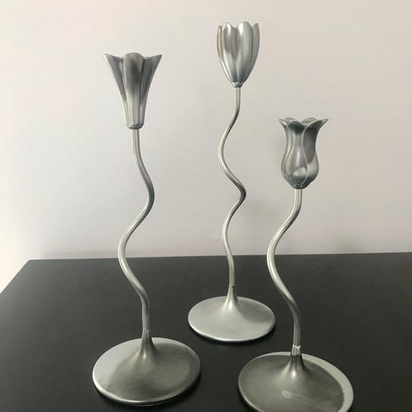 Funky Modern Flower Candlestick Holders / Decor.